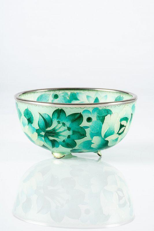 A Japanese glass plique-à-jour bowl