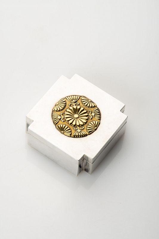A Japanese silver kogo box