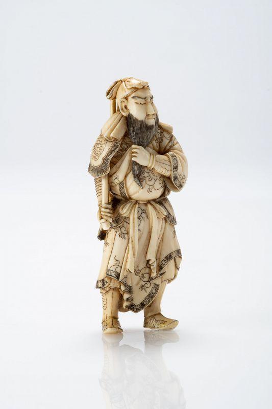 Minkoku 珉谷  - A Japanese netsuke of Guan Yu