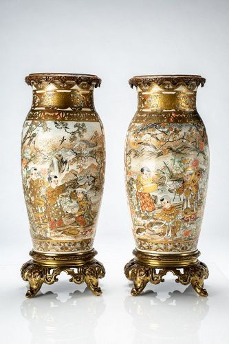 A Japanese pair of vases