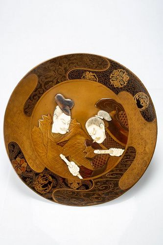 A Japanese plate of two Samurai