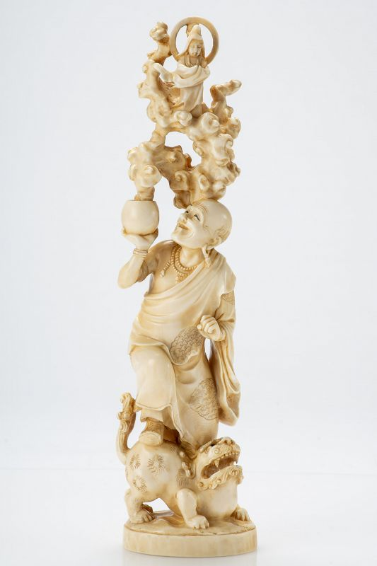 Gyokuzan - A Japanese ivory okimono