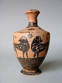 Greek Euboean Lekythos of the Dolphin Group, 550 BC