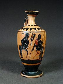 Attic black-figure lekythos with seated men, 500-480 BC