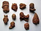 Group of Ten Egyptian Terracotta Heads, Ptolemaic to Roman Period