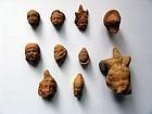 Group of Ten Fine Egyptian Terracotta Heads, Hellenistic to Roman