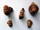 Group of Five Egyptian Terracotta Heads, Hellenistic to Roman Period