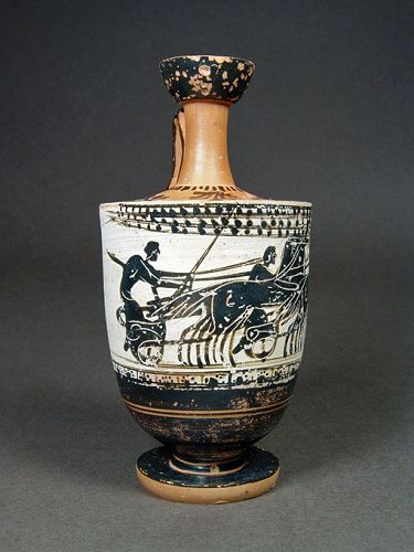 Attic Lekythos with Chariot Race, Haimon Group, ex MuM, ca. 490 BC