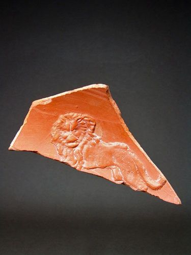 Roman North African Bowl Fragment with Lion, 350-430 AD