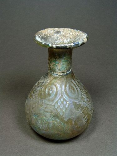 Roman Mold-Blown Glass Flask, 3rd-4th Century AD