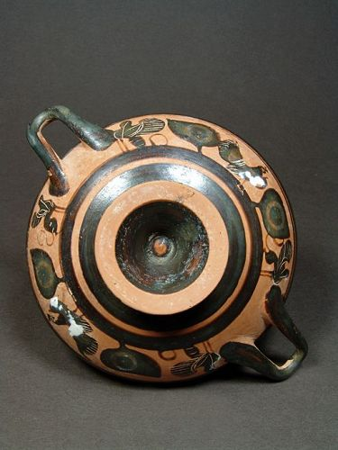 Attic Eye-cup with Cock and Hen, 520-510 BC