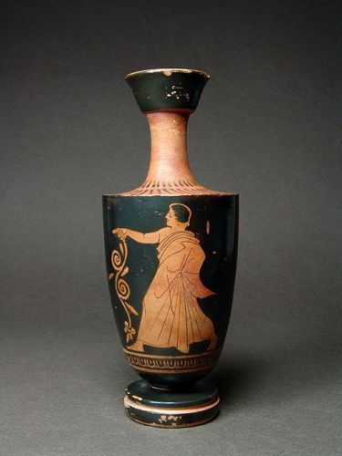Attic Red-figure Lekythos, Youth Holding Tendril, ca. 450 BC