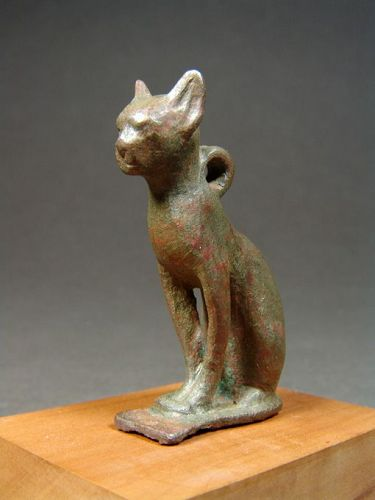 Egyptian Bronze Cat, Late Period, 664-332 BC