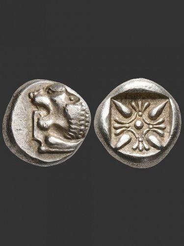 Silver Miletos Diobol, Lion Forepart, around 500 BC