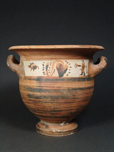 Apulian Bell Krater, Mixed Greek-Peucetian Style, 4th Century BC
