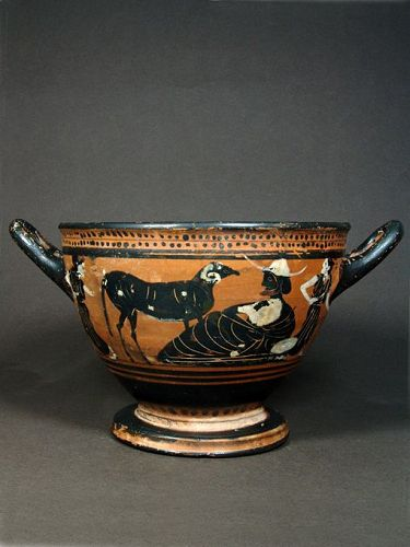 Attic Skyphos with Men and Rams, CHC Group, 500-490 BC
