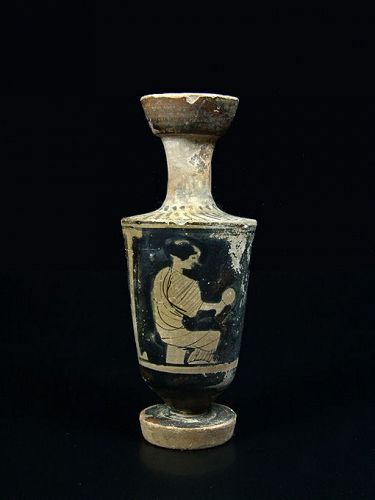 Greek Attic Lekythos with Seated Woman, around 450 BC