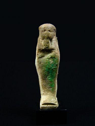 Egyptian Light Green Faience Shabti, Late Period, 380-30 BC