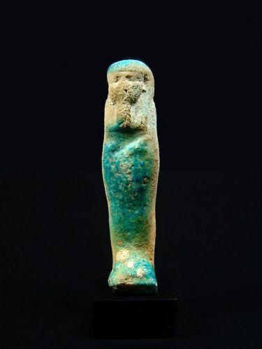 Egyptian Turquoise Faience Shabti, Late Period, 380-30 BC