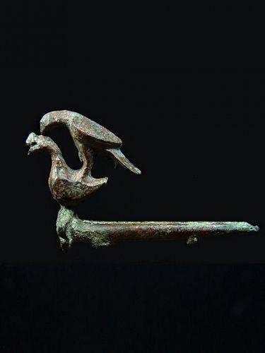 Islamic Seljuq Bronze Key with Bird Group Applique, 11th-12th Century
