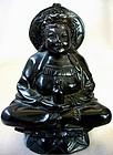 Chinese Black Hardstone Carving of Guan-Yin
