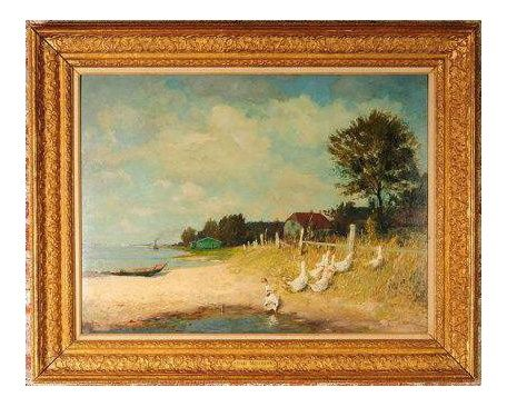 """""""Belmont Lakeshore View"""" Oil Painting by Gari Melchers, 1920s"""