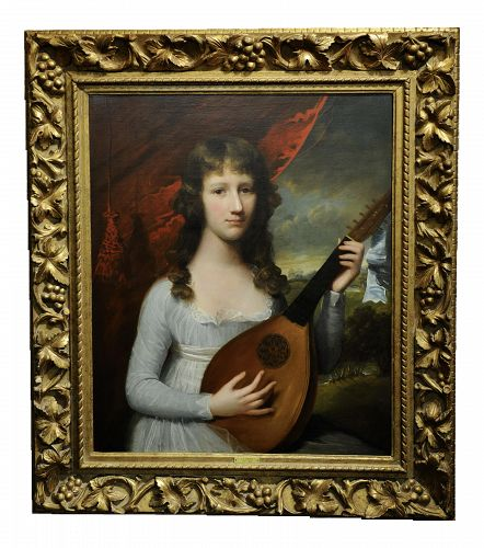 "18th century Oil Painting ""Portrait of a Girl with Lute"" by John Singleton Copley"