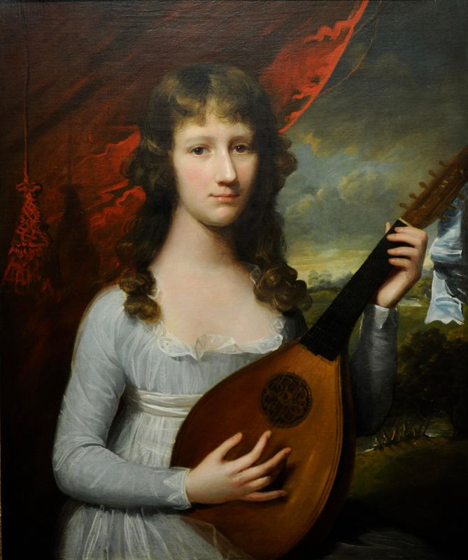 """18th century Oil Painting """"Portrait of a Girl with Lute"""" by John Singleton Copley"""