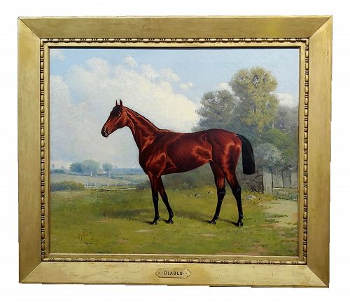 19th Century Henry Stull -Portrait of a Champion Race Horse Oil Painting