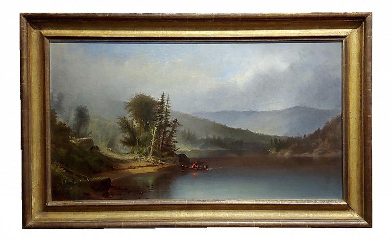Homer Dodge Martin -View of Lake Adirondack -19th C. Hudson River School Oil Painting