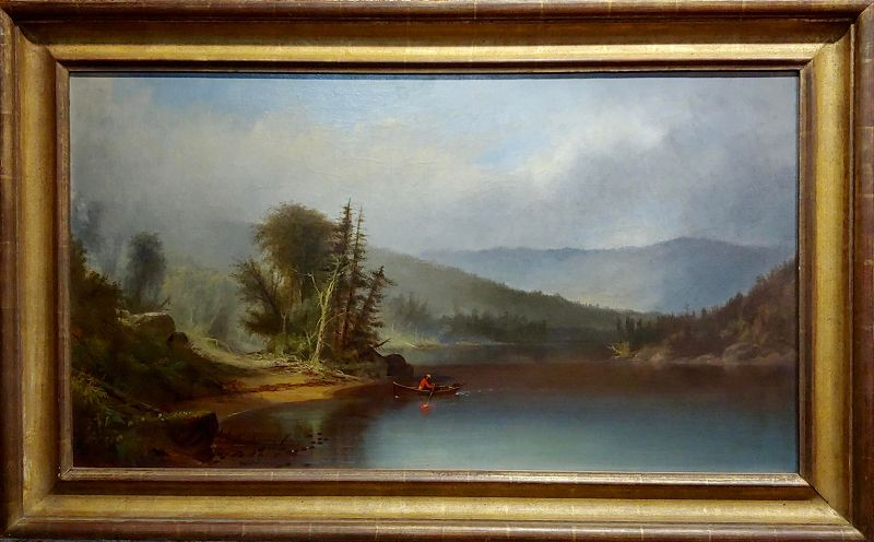 Homer Dodge Martin -View of Lake Adirondack -19th C. Hudson River School Oil Painting