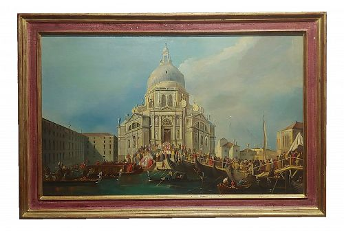 Canaletto School-Santa Maria Della Salute in Venice-18th Century Oil Painting