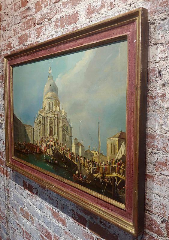 Canaletto School-Santa Maria Della Salute in Venice-18th Century Oil Painting