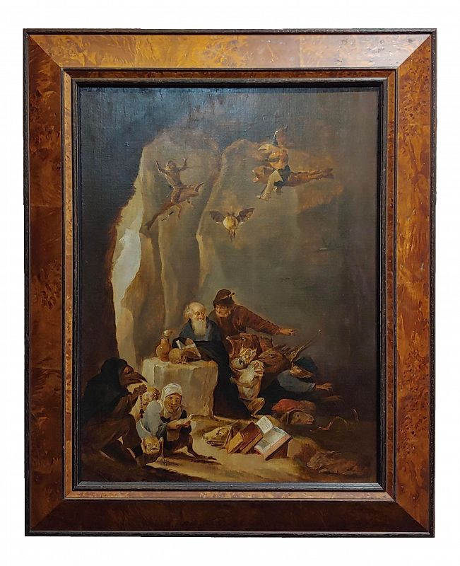 """1680s David Teniers The Younger """"The Temptation of St. Anthony"""" Oil Painting"""
