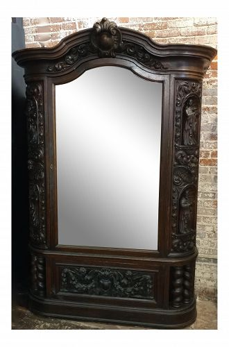 18th Century Carved French Gothic Oak Cabinet with Santos & Angels Figures