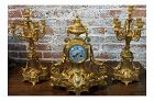 19th Century French Empire Clock & Candelabra Set - Set of 3