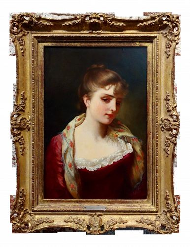 Gustave Jean Jacquet -Portrait of anYoung Lady- 19th Century Oil Painting