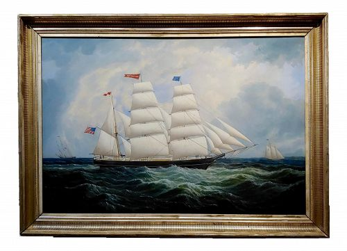 19th Century Portrait of an American Sailing Ship- Oil Painting -C1860s