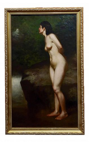 19th Century John George Brown Nude Female in a Wooded Landscape Oil Painting