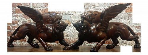 17th/18th Century Italian Carved Walnut Griffins - a Pair