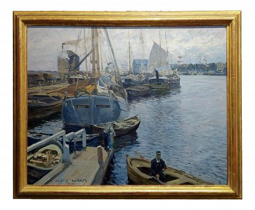 1900s Vintage Boats in a Crowded Harbor Impressionist Oil Painting by Ulrich Hübner