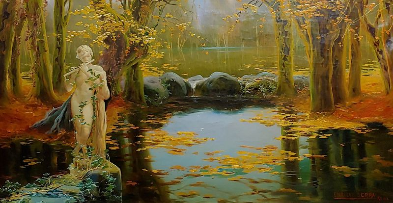 Enrique Serra -1890s Young Satyr Figure Playing the Flute in the Pontine Pond-OIl Painting