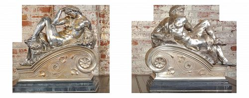 Michelangelo Day & Night - Stunning 19th Century Bronze Sculptures - a Pair