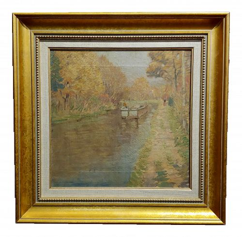 """Rae Sloan Bredin """"October Day on the River"""" Impressionist Oil Painting - C.1920s"""