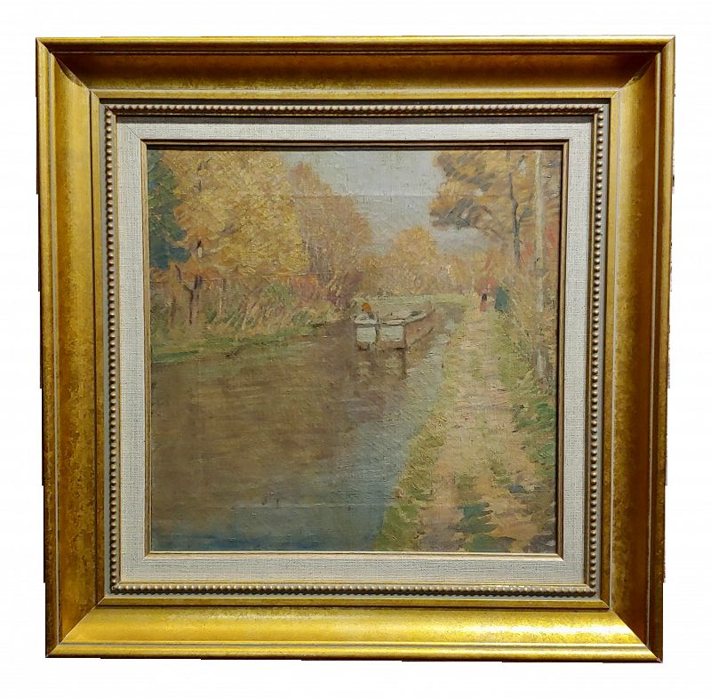 "Rae Sloan Bredin ""October Day on the River"" Impressionist Oil Painting - C.1920s"