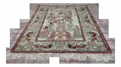 19th Century Antique Persian Lavar Kirman Pictorial Rug - 4�8� � 7�10�