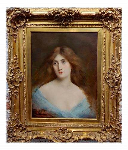 Angelo Asti -Portrait of a Beautiful Girl -19th Century Oil Painting
