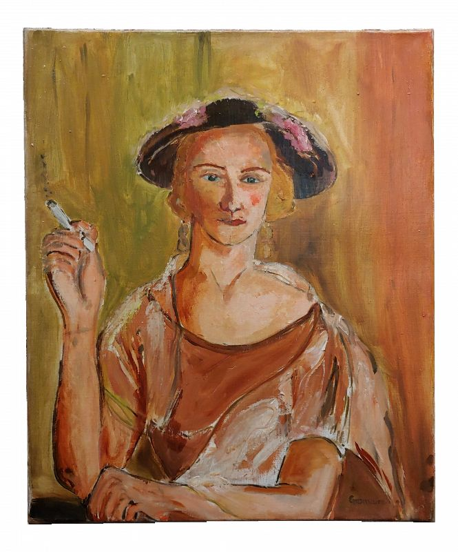 Impressionist Marcel Gromaire Woman Smoking a Cigarette-Double Sided Oil Painting