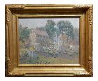 Edwin Roscoe Shrader -Rural Farmhouse - Beautiful Oil Painting -California Pointillism