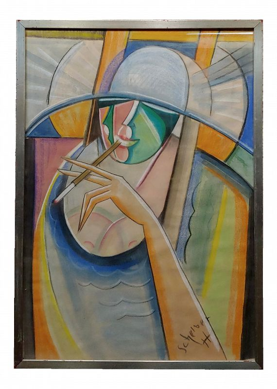 Hugo Scheiber -1930s Cubist Painting, Portrait of a Stylish Woman